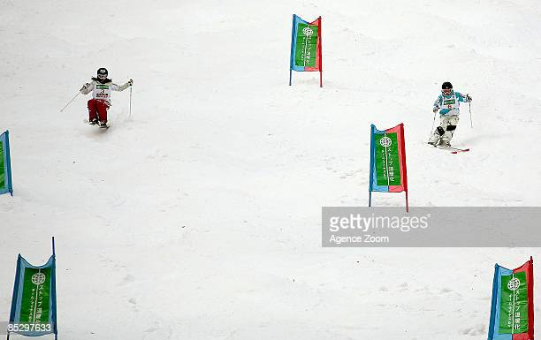 Aiko Uemura of Japan takes 1st place Miki Ito of Japan takes 2nd place during the FIS Freestyle World Championships Women's Dual Moguls event on...
