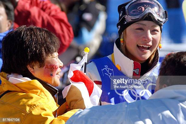 Aiko Uemura of Japan talks with her mother Keiko in the Women's Mogul of Freestyle Skiing during day one of the Salt Lake City Olympics on February 9...