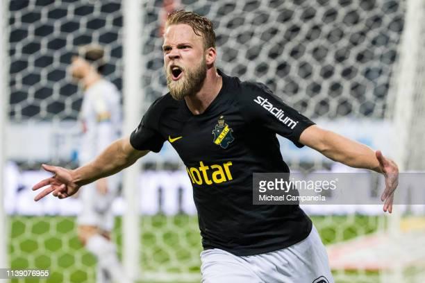 AIKs Daniel Sundgren celebrates after scoring the 1-0 goal during the Allsvenskan match between AIK and BK Hacken at Friends arena on April 24, 2019...