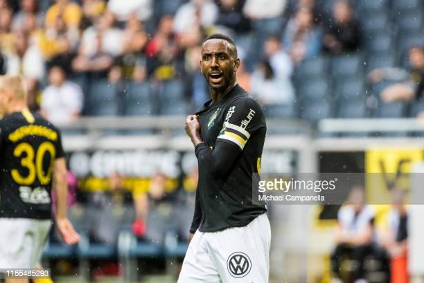 AIKs Henok Goitom angry to not be awarded a foul for shirt pulling during an Allsvenskan match between AIK and IF Elfsborg at Friends Arena on July...