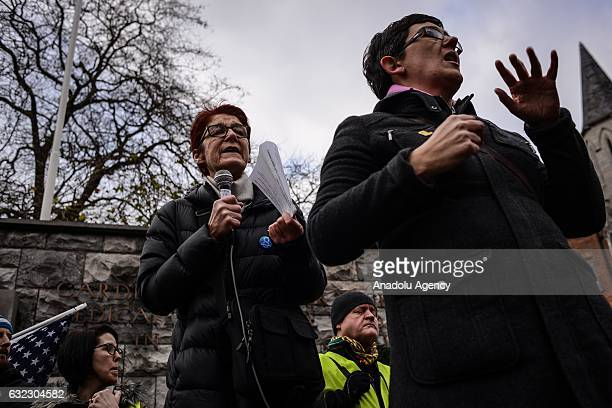 Ailbhe Smyth from the Coalition to Repeal the 8th Amendment of the Consitution of Ireland addresses participants before a march held in solidarity...