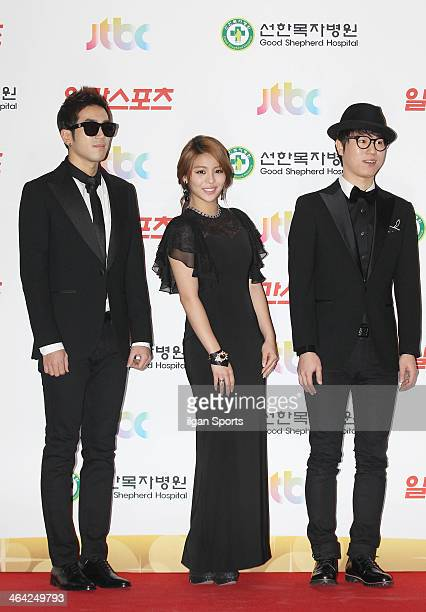 Ailee and Baechigi pose for photographs during the 28th Golden Disk Awards at Kyunghee Grand Peace Palace on January 16 2014 in Seoul South Korea
