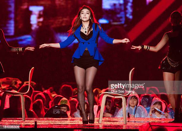 Ailee performs onstage during the 2013 Hallyu Dream concert at Gyeongju Civic Stadium on October 6 2013 in Gyeongju South Korea