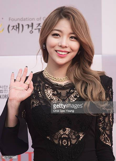 Ailee poses for photographs during the 2014 Hallyu Dream Concert at Gyeongju Citizen Stadium on September 28 2014 in Seoul South Korea
