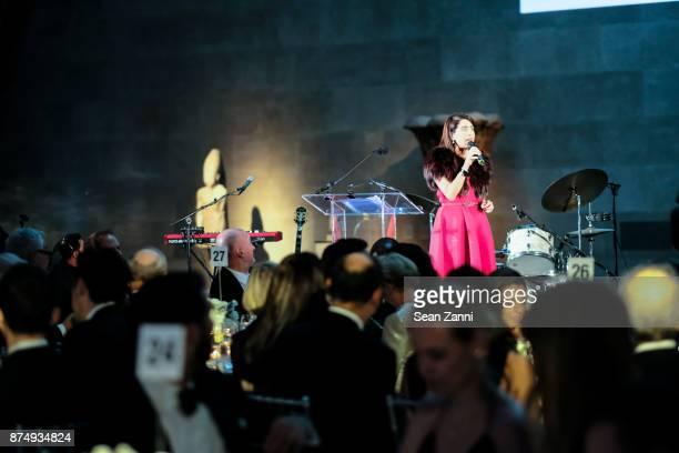 Aileen Agopian speaks at The Aga Khan Foundation Gala at The Metropolitan Museum of Art on November 15 2017 in New York City