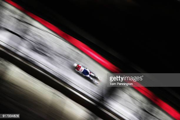 Aileen Christina Frisch of Korea slides during the Women's Singles Luge run 2 at Olympic Sliding Centre on February 12 2018 in Pyeongchanggun South...