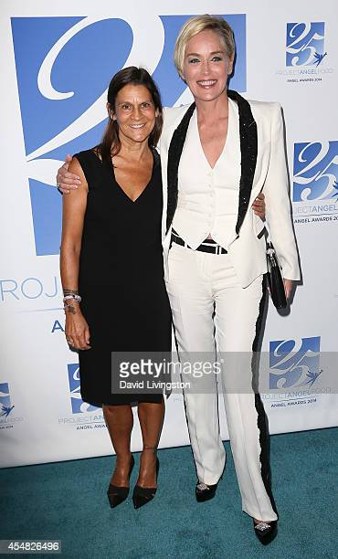 Aileen Getty and actress Sharon Stone attend the 2014 Angel Awards at Project Angel Food on September 6, 2014 in Los Angeles, California.