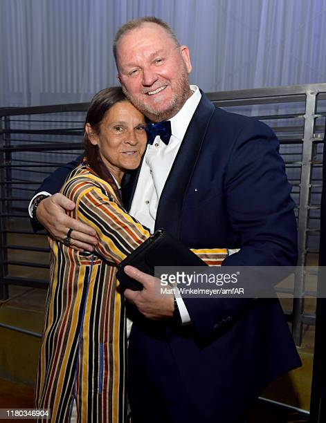 Aileen Getty and amfAR CEO Kevin Robert Frost during the 2019 amfAR Gala Los Angeles at Milk Studios on October 10 2019 in Los Angeles California