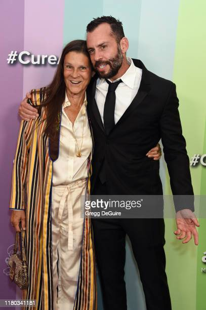 Aileen Getty and Josh Wood attend the 2019 amfAR Gala Los Angeles at Milk Studios on October 10 2019 in Los Angeles California