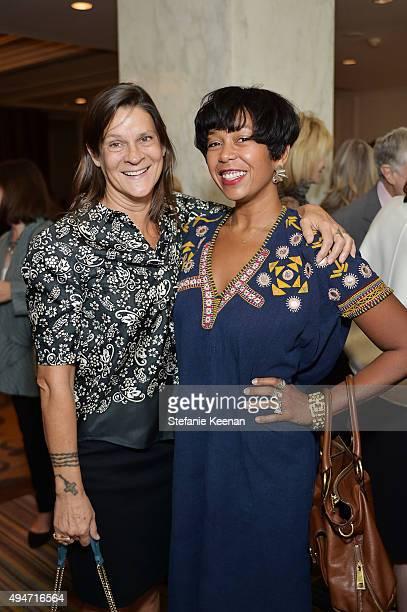 Aileen Getty and Karon Davis attend MOCA's 9th Awards To Distinguished Women In The Arts at Regent Beverly Wilshire Hotel on October 28 2015 in...