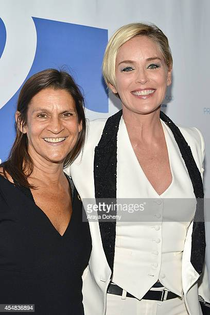 Aileen Getty and Sharon Stone attend the Project Angel Food's 25th Anniversary Angel Awards 2014 honoring Aileen Getty with the Inaugural Elizabeth...