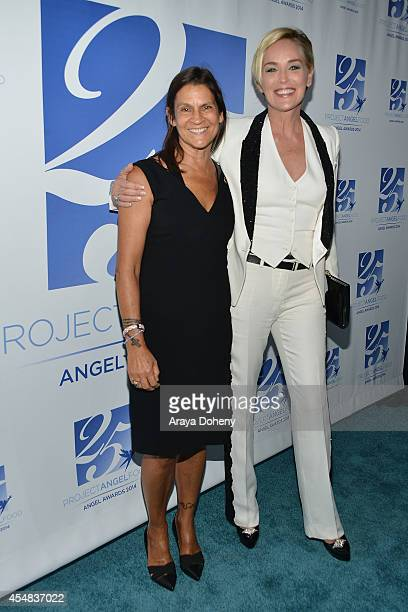 Aileen Getty and Sharon Stone attend the Project Angel Food's 25th Anniversary Angel Awards 2014, honoring Aileen Getty with the Inaugural Elizabeth...