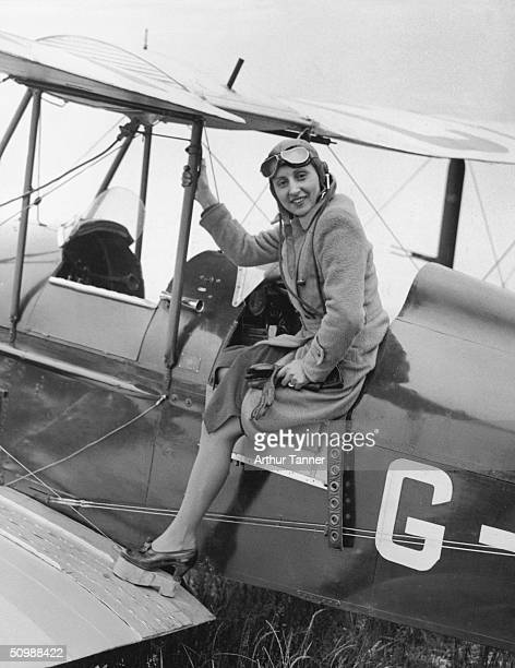 Aileen Mills first wife of English actor John Mills prepares for a flying lesson at Stanley Park Aerodrome Blackpool 15th June 1937 Her Husband is...