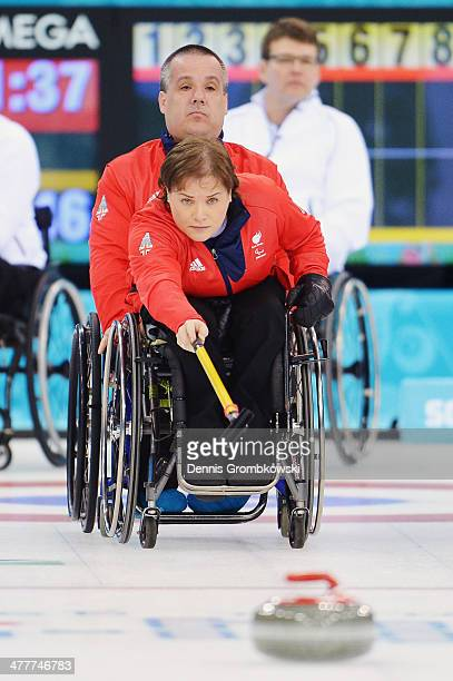 Aileen Neilson of Great Britain competes in the Round Robin Session 7 during day four of Sochi 2014 Paralympic Winter Games at Ice Cube Curling...