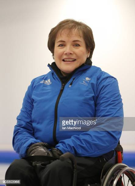 Aileen Nelson is photographed at announcement of the ParalympicsGB Wheelchair Curling Team at The National Curling Centre on January 10 2018 in...