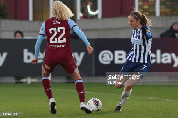 Aileen Whelan of Brighton and Hove Albion Women passing the ball past Grace Fisk of West Ham United Women during the Barclays FA Women's Super League...