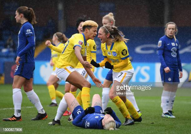 Aileen Whelan of Brighton & Hove Albion celebrates with team mate Victoria Williams after scoring their side's first goal during the Barclays FA...