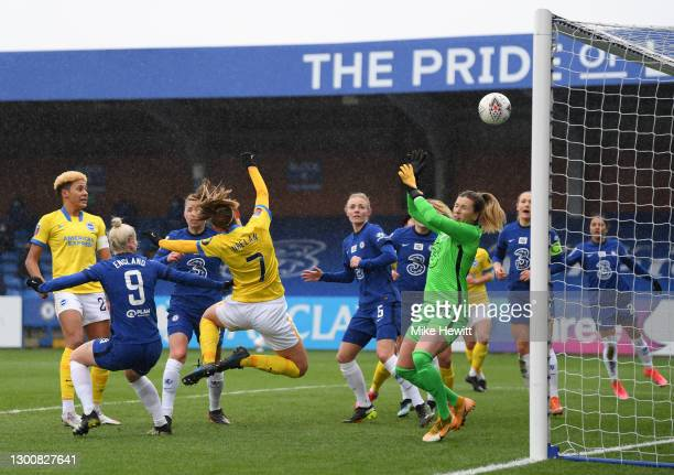 Aileen Whelan of Brighton & Hove Albion scores their side's first goal during the Barclays FA Women's Super League match between Chelsea Women and...