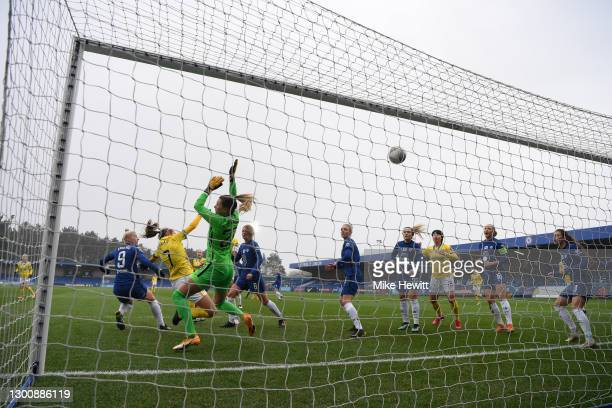 Aileen Whelan of Brighton & Hove Albion scores their side's first goal past Carly Telford of Chelsea during the Barclays FA Women's Super League...