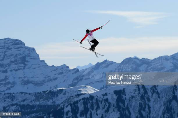 Ailing Eileen Gu of China in her qualification run in Women's Freeski Big Air in Freestyle Skiing during day 12 of the Lausanne 2020 Winter Youth...