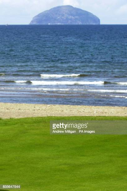 Ailsa Craig rock is seen during the Senior British Open Championship Turnberry
