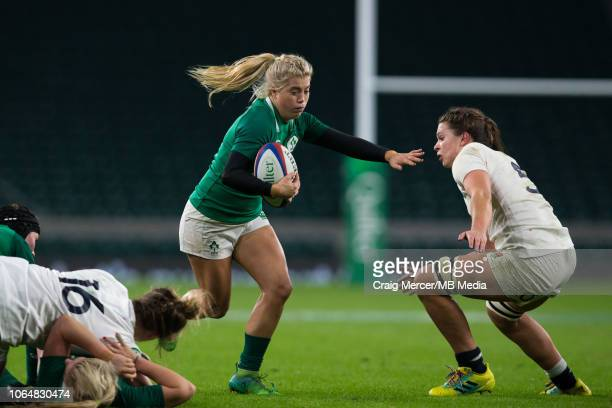 Ailsa Hughes of Ireland evades the tackle of Abbie Scott of England during the International match between England Women and Ireland Women at...