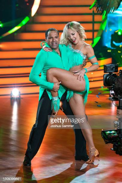 """Ailton Goncalves da Silva and Isabel Edvardsson perform on stage during the 1st show of the 13th season of the television competition """"Let's Dance""""..."""