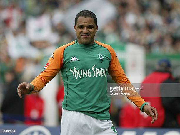 Ailton of Bremen celebrates the second goal during The Bundesliga match between Werder Bremen and FC Koln at The Weser Stadium March 13 2004 in...