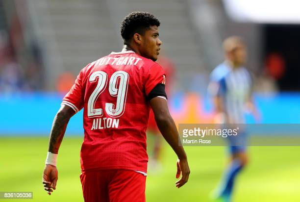 Ailton of Stuttgart looks on during the Bundesliga match between Hertha BSC and VfB Stuttgart at Olympiastadion on August 19, 2017 in Berlin, Germany.