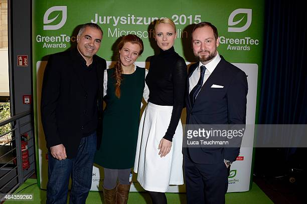 Aiman Abdallah Nina Eichinger Franziska Knuppe and Marco Voigt attends the GreenTec Awards Jury Meeting 2015 at Microsoft Berlin on February 25 2015...
