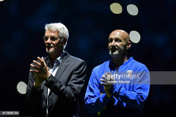 Aime Jacquet and Fabien Barthez of France 98 react during the players presentation before the friendly match between France 98 and FIFA 98 at U Arena...