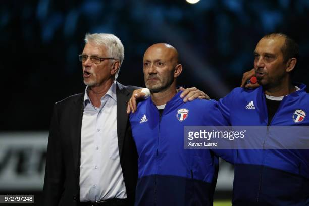 Aime Jacquet Fabien Barthez and Lionel Charbonnier of France pose before the Friendly match between France 98 and FIFA 98 at U Arena on June 12 2018...