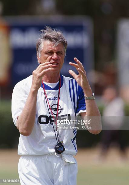 Aime Jacquet the coach of the French national soccer team during training before the 1998 World Cup in France