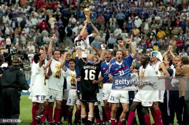 Aime Jacquet / Thierry Henry / Christophe Dugarry Bresil / France Finale Coupe du Monde 1998 Photo Alain Gadoffre / Icon Sport