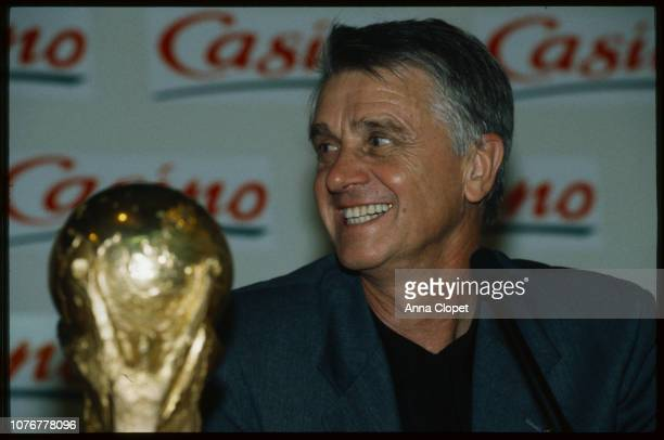 Aime Jacquet with the 1998 World Cup Trophy