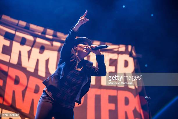 Aimee Allen member of the band The Interrupters performs live on stage at Arena Anhembi on November 3 2017 in Sao Paulo Brazil
