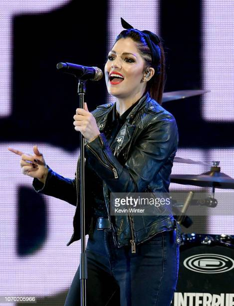 Aimee Allen of the band The Interrupters performs on stage during the KROQ Absolut Almost Acoustic Christmas at The Forum on December 8 2018 in...