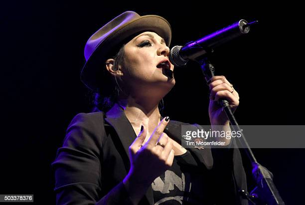 Aimee Allen of The Interrupters performs at The Warfield on January 2 2016 in San Francisco California