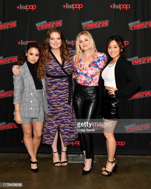 Aimee Carrero, Lauren Ash, AJ Michalka, and Karen Fukuhara attend the press line at the DreamWorks She-Ra and the Princesses of Power, a Netflix...