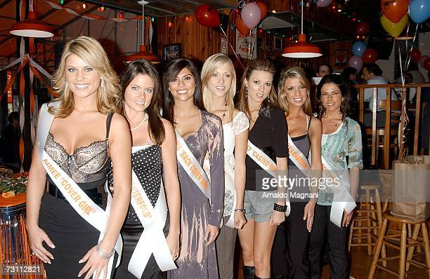 Aimee Chuhaloff Breanne Ashley Anna Burns Lidsey Tiile Beverly Mullins Lilly Mikleu and Danielle Schatz pose during the 2007 Hooters National...
