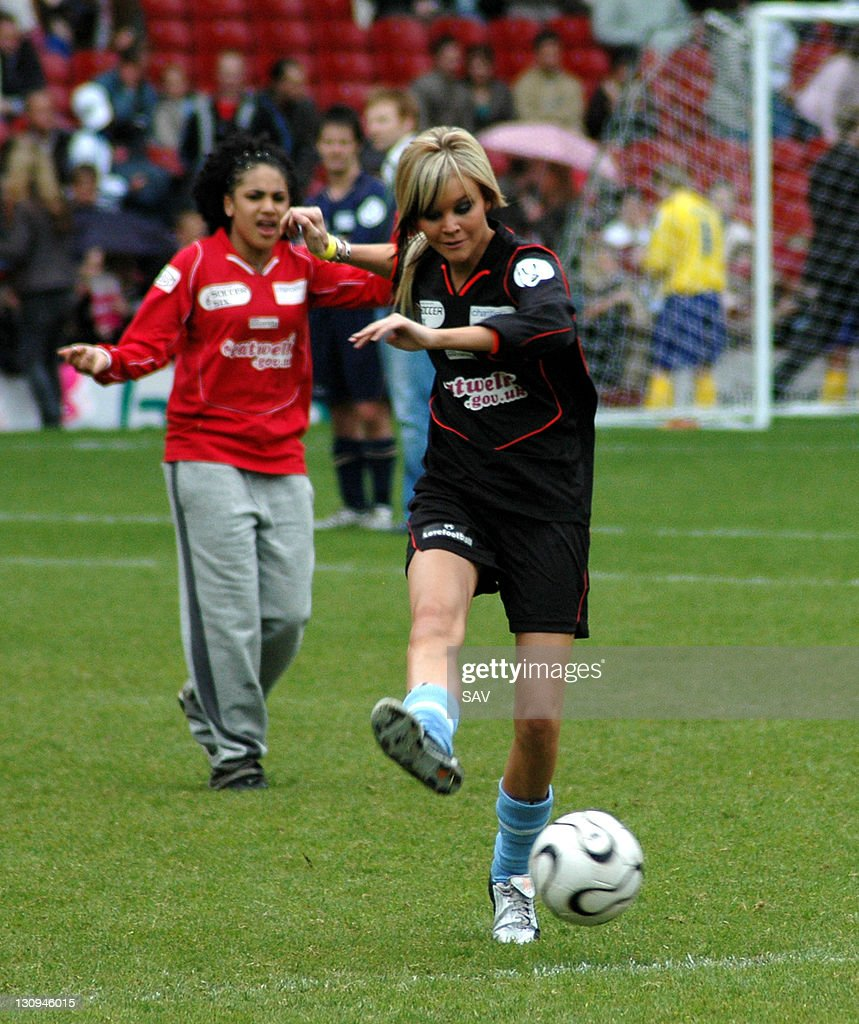 Aimee from Clea shoots for goal during Celebrity World Cup Soccer Six Match at West Ham United Football Club in London, Great Britain.