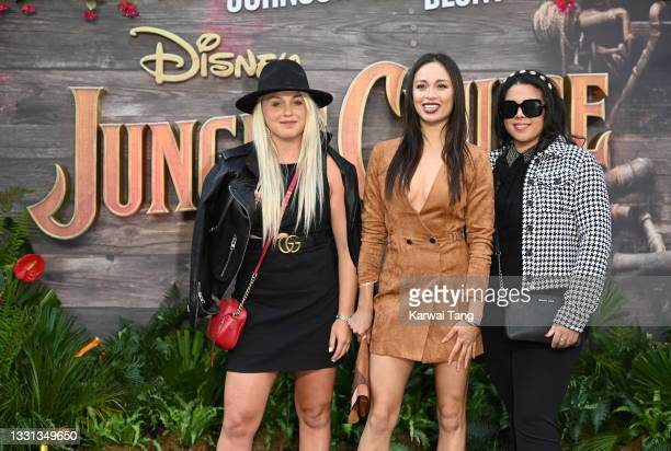 """Aimee Fuller and Katya Jones with guest attend Disney's """"Jungle Cruise"""" UK premiere at Cineworld Leicester Square on July 29, 2021 in London, England."""
