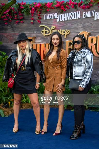 """Aimee Fuller and Katya Jones with guest attend the London Premiere of Disney's """"Jungle Cruise"""" at Cineworld Leicester Square on July 29, 2021 in..."""