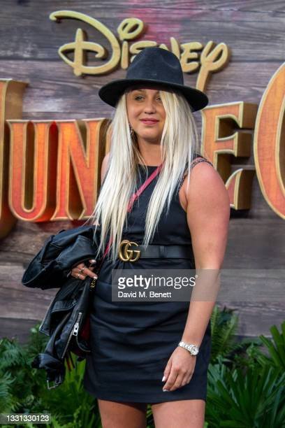 """Aimee Fuller attends the London Premiere of Disney's """"Jungle Cruise"""" at Cineworld Leicester Square on July 29, 2021 in London, England."""