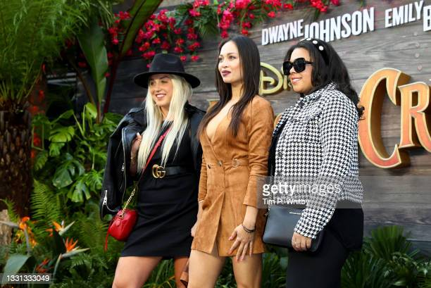 """Aimee Fuller, Katya Jones and Sasha Latoya attend Disney's """"Jungle Cruise"""" special screening at Cineworld Leicester Square on July 29, 2021 in..."""