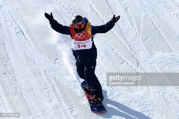 Aimee Fuller of Great Britain celebrates in the Snowboard Ladies' Slopestyle Final on day three of the PyeongChang 2018 Winter Olympic Games at...