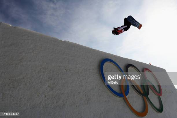 Aimee Fuller of Great Britain competes during the Snowboard Ladies' Big Air Qualification on day 10 of the PyeongChang 2018 Winter Olympic Games at...