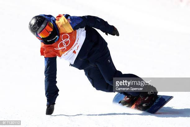 Aimee Fuller of Great Britain competes in the Snowboard Ladies' Slopestyle Final on day three of the PyeongChang 2018 Winter Olympic Games at Phoenix...