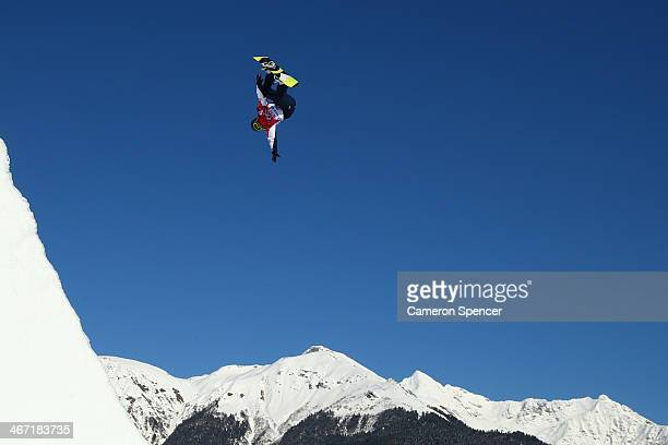 Aimee Fuller of Great Britain competes in the Women's Slopestyle Qualification during the Sochi 2014 Winter Olympics at Rosa Khutor Extreme Park on...