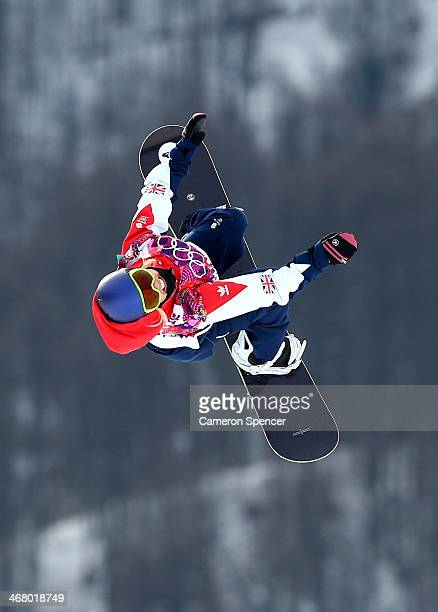 Aimee Fuller of Great Britain competes in the Women's Snowboard Slopestyle Semifinals during day two of the Sochi 2014 Winter Olympics at Rosa Khutor...